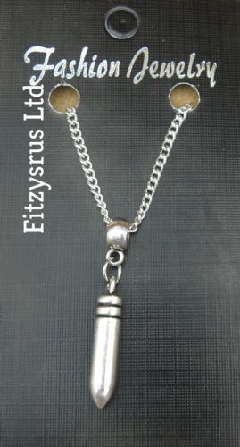 "18"" 24"" Inch Chain Necklace & Bullet Pendant Charm - Brand New"